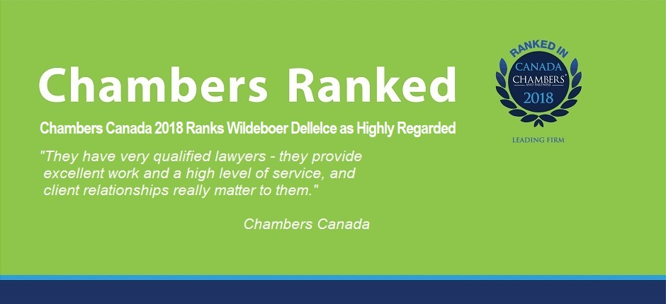 Chambers Canada Ranks Wildeboer Dellelce as <br>Highly Regarded